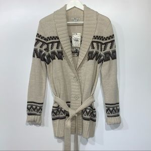 Bass Wool Blend Belted Cardigan Button Front M